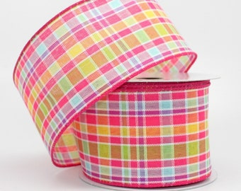 10 yards Spring Plaid Wire Edge Ribbon - Ribbon for Wreaths, Easter Ribbon, Wired Ribbon