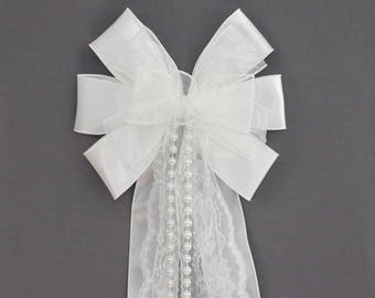 White Sheer Lace Pearl Wedding Pew Bow - Wedding Ceremony Bow, White Wedding Decorations