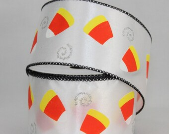 10 yards Candy Corn Halloween Wire Edge Ribbon - Ribbon for Wreaths, Halloween Wreath Ribbon
