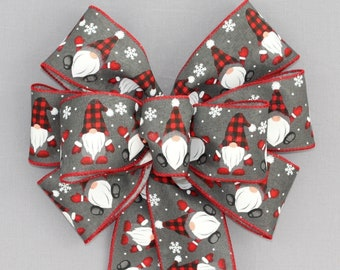Gray Red Buffalo Gnomes Christmas Wreath Bow  - Gnomes Christmas Bow, Christmas Wreath Bow, Christmas Bow, Wreath Bow