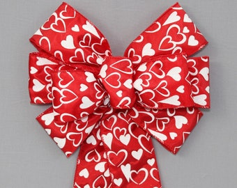 Valentines Day Red Heart White Bow for Wreath Gift Swag Lantern Basket Tree Door 10 x 18 inches