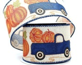 10 yards Blue Truck Pumpkin Patch Fall Wired Ribbon - Pumpkin Wired Ribbon, Ribbon for Wreaths, Fall Ribbon, Wired Ribbon