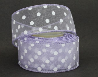 "Lavender White Polka Dot Sheer Wire Edge Ribbon - 3 Yards Wire Ribbon, Ribbon for Wreaths, Easter Ribbon, 1.5"" wide ribbon"