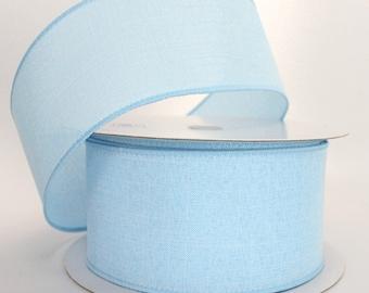 2 Metres 15mm Baby Blue Textured Ribbon Cake Bows Wedding Baby Shower Vintage