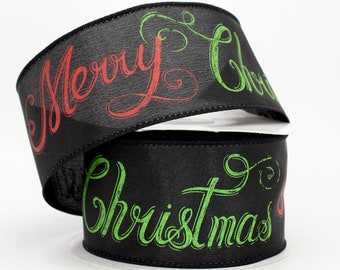 10 Yards Merry Christmas Chalkboard Wire Edge Ribbon