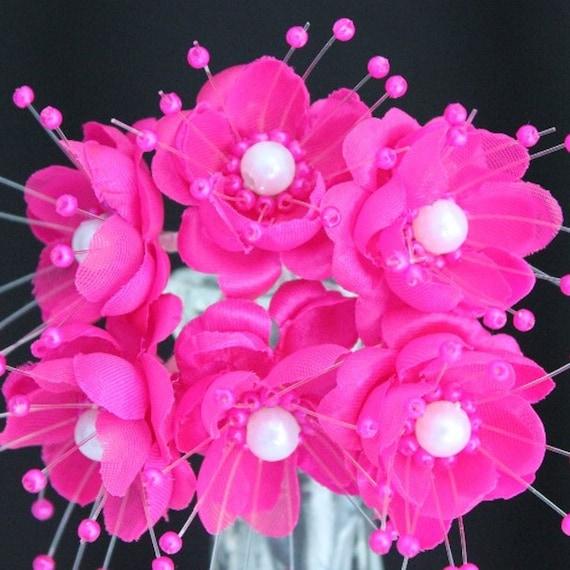 72 fuchsia silk flowers with pearl center hot pink flowers il570xn mightylinksfo