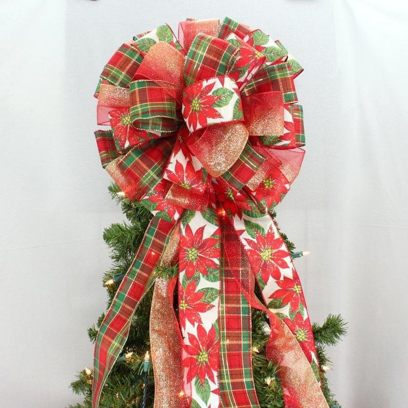 Pointsetta Christmas Tree.Poinsettia Plaid Christmas Tree Topper Bow Poinsettia Christmas Bow Plaid Tree Topper Bow