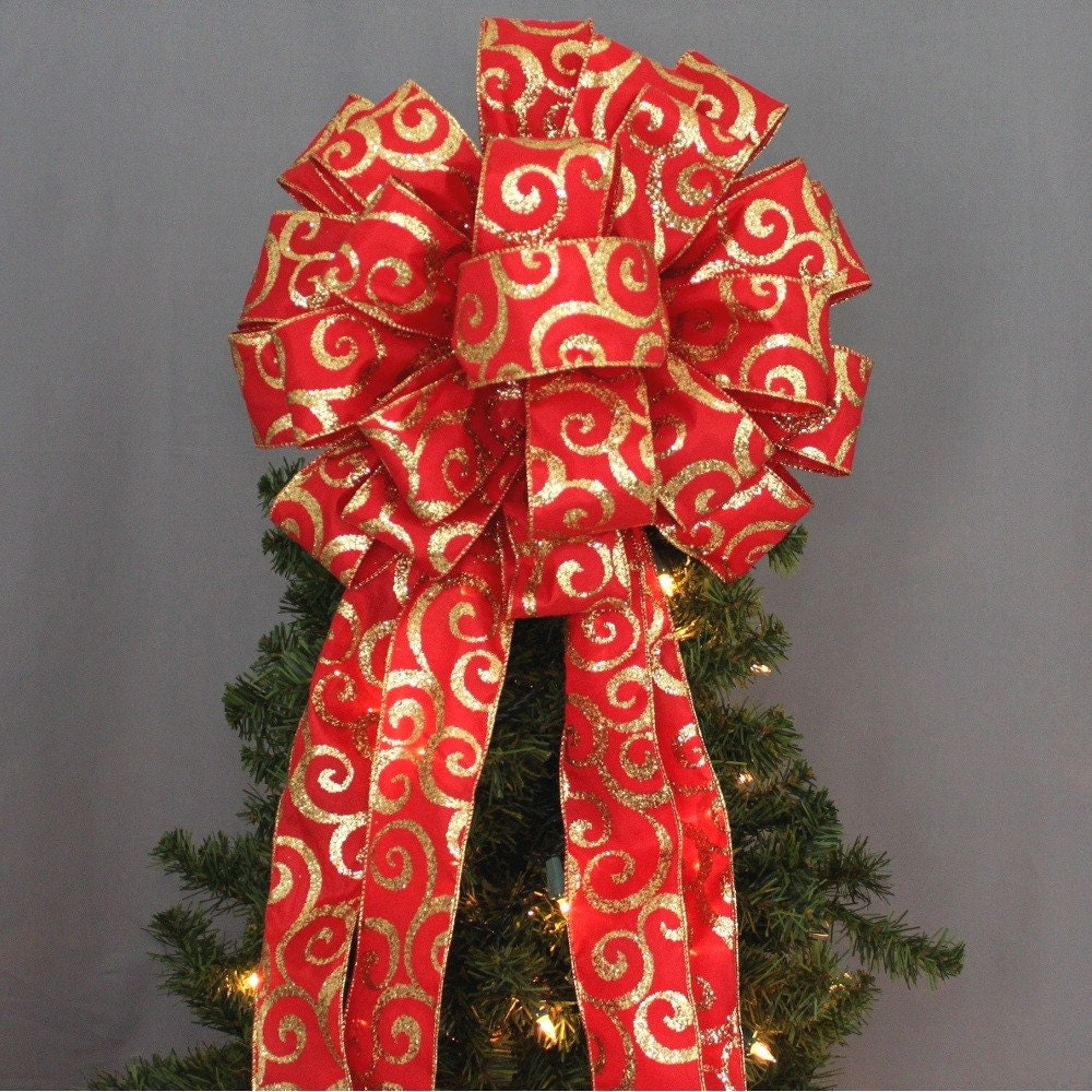 Red And Gold Christmas Trees: Red Gold Glitter Swirl Christmas Tree Topper Bow Christmas