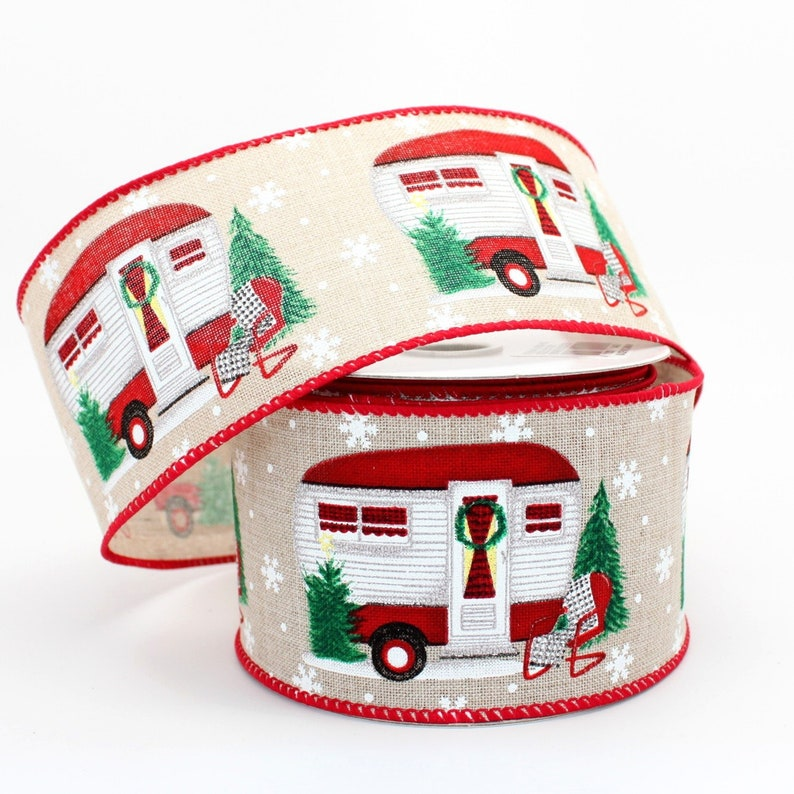 Festive Christmas Camper Rustic Wired Ribbon