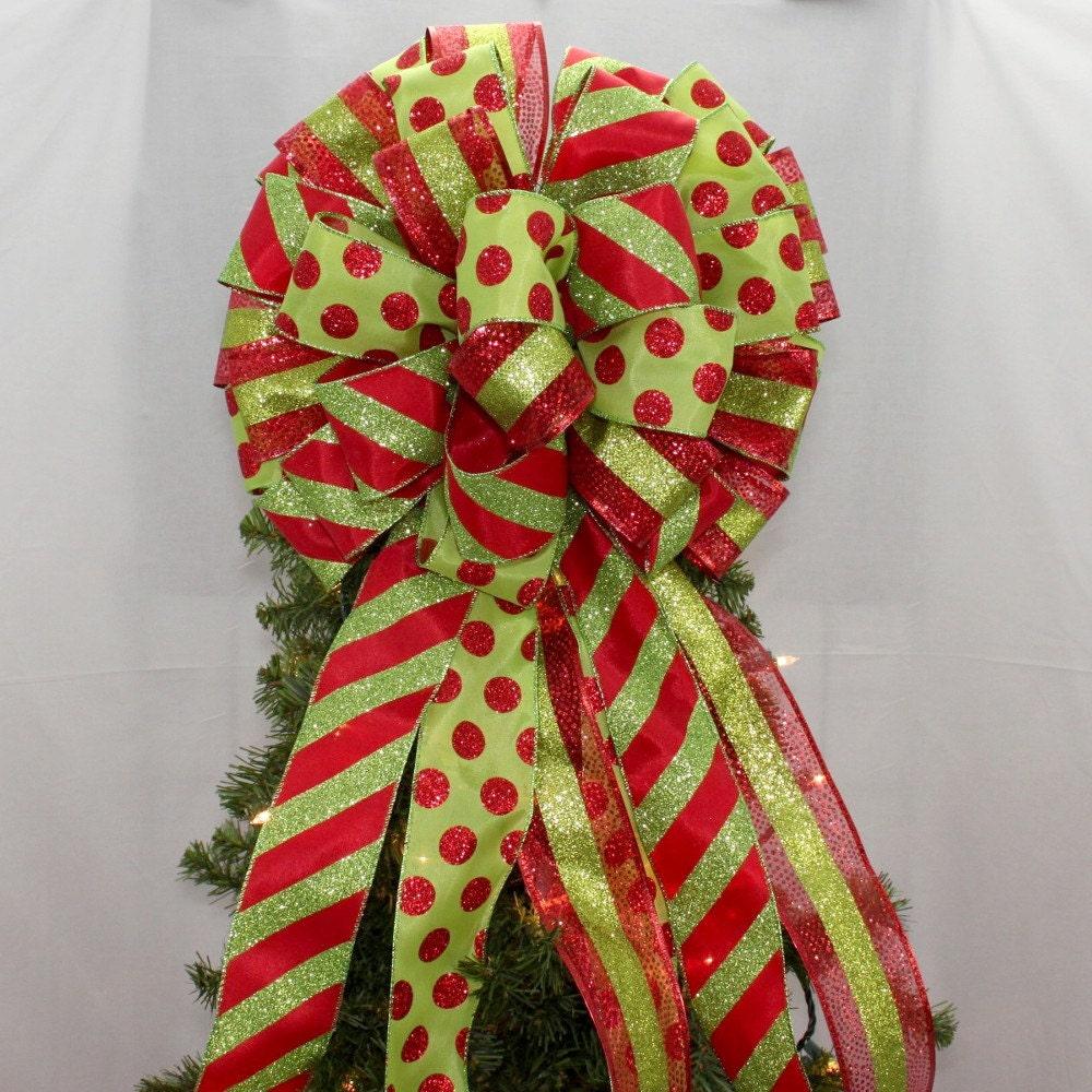 Red Green Sparkle Dot Stripe Christmas Tree Bow Christmas