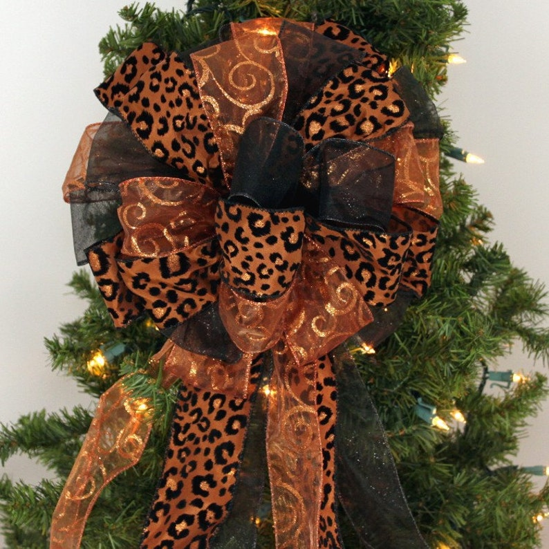Brown Leopard Copper Swirl Christmas Bow Christmas Tree Bow Etsy
