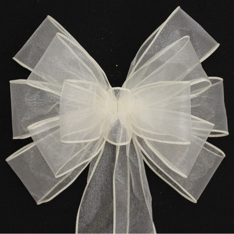 Wedding Ideas For Church Pews: Ivory Sheer Wedding Pew Bows Available In 21 Colors Church