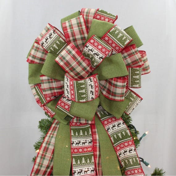 image 0 - Rustic Holiday Sweater Plaid Christmas Tree Topper Bow Etsy