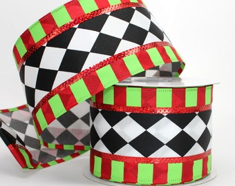 "10 yards Harlequin Stripe Edge Christmas Wire Edge Ribbon -  2.5"" wide ribbon - Christmas Wire Ribbon -  Christmas Harlequin"