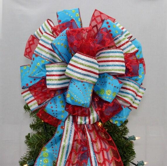 Blue Glitter Dot Stripe Red Christmas Tree Bow Topper