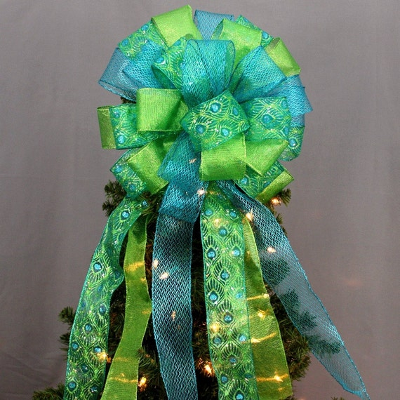 Peacock Sparkle Christmas Tree Bow Topper Peacock Christmas Bow