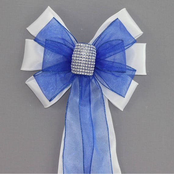 Royal Blue Bling Wedding Pew Bows Available In 14 Colors Church Pew Decorations Wedding Aisle Decorations Wedding Chair Bows