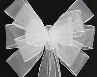 White Sheer Wedding Pew Bow -  Available in 21 colors, Church Aisle Decorations,  Chair Bows