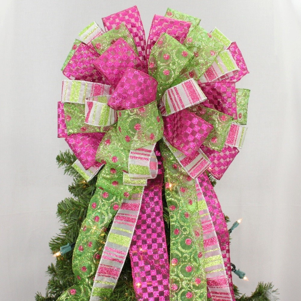 lime green hot pink christmas tree bow christmas tree bow etsy. Black Bedroom Furniture Sets. Home Design Ideas