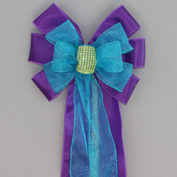 Purple Bling Peacock Wedding Pew Bow Church Pew Decorations