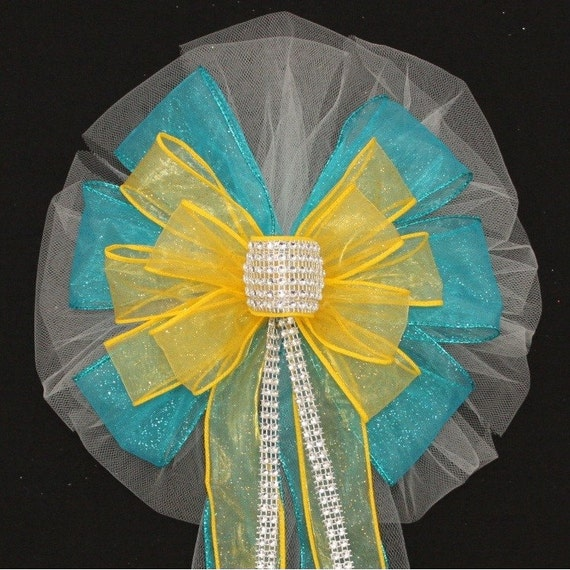 Turquoise Bling Yellow Wedding Pew Bows Church Pew Decorations