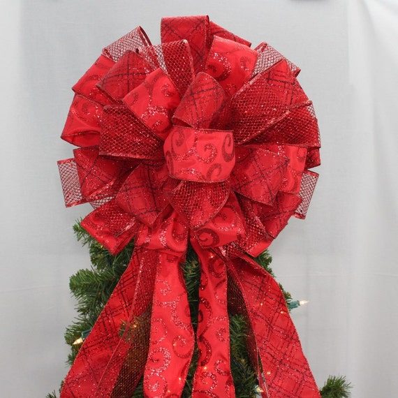 Dark Red Sparkle Christmas Tree Bow Topper Christmas Tree Etsy