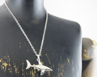 Shark pendant etsy sterling silver shark necklace shark pendant fish necklace sea life necklace sea creature necklace oceanographer necklace shark aloadofball Gallery