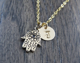 Personalize Hamsa Hand Necklace, Hamsa hand with an evil eye necklace, Spiritual necklace, Protection necklace, good luck jewelry