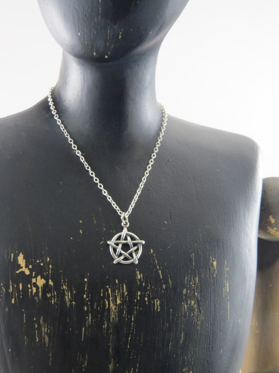Sterling silver pentagram necklace, Wicca necklace, Wiccan jewelry,