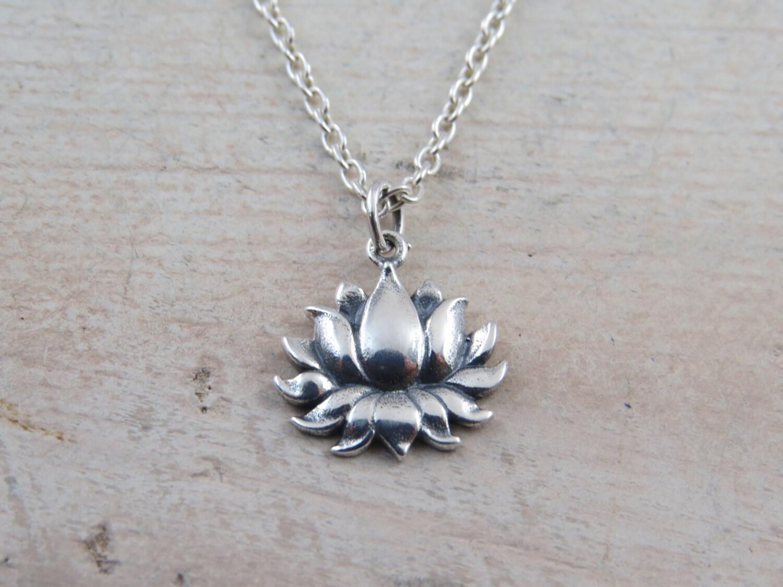 Sterling Silver Lotus Flower Necklace Lotus Flower Blooming Etsy