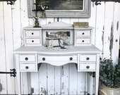 19th century French ladies dressing table writing desk with bevelled mirror.