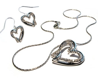 Diane Katzman Necklace and Earring Crystal Heart Jewelry Set