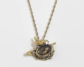 Anson Pewter Bird's Nest Pendant Necklace, Antiqued Gold Tone Pewter, Designer Signed, Cute!