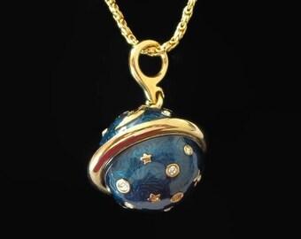 Swarovski Celestial Pendant Necklace, Teal Enamel & Hand Set Austrian Crystals, Gold Plated, Moon Stars, Planet, Swan Hallmark, Stunning!