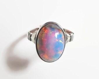 Opal Foil Glass Ring, Vintage Uncas Signed Sterling Silver, Size 6, Lovely Shimmer!