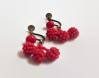 Vintage Cherry Dangle Earrings, Red Seed Beads, Japan, Retro Fun!