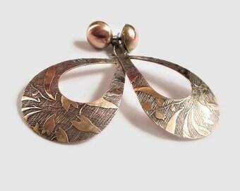 Brass Dangle Earrings, Pretty Floral Motif Boho Beauties