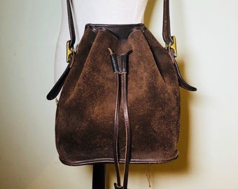 Vintage Coach Chocolate Suede Draw String Shoulder Bag