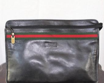 Vintage Authentic Gucci Black Leather Portfolio Bag
