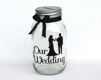 Wedding Fund Canning Jar Bank With Coin Slot Lid And Ribbon Etsy