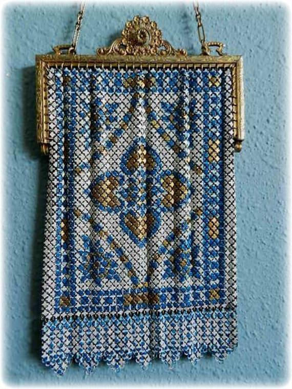 Mandalian Antique Painted Enamel Mesh Purse Van Dy