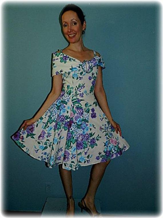Vintage 1950's Style Lavender & Blue Swing Dress