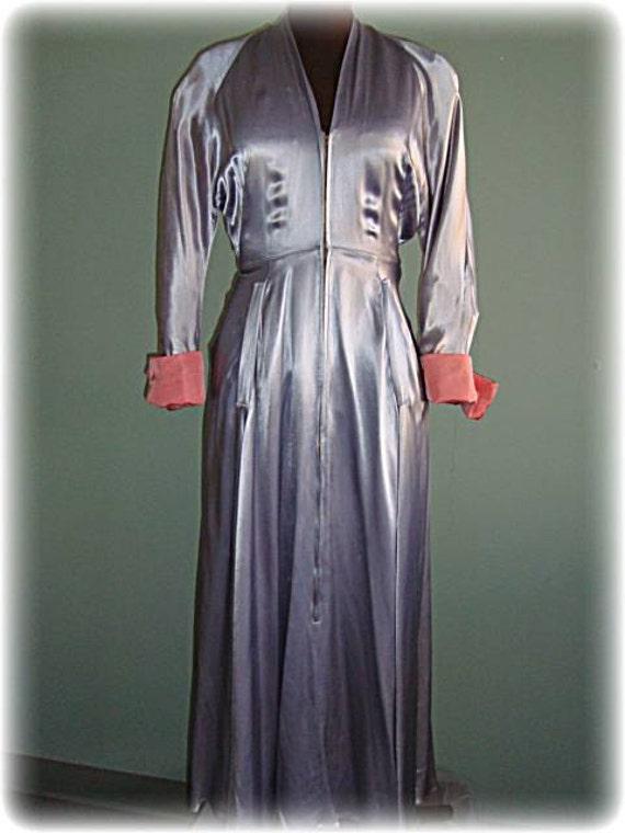 1940s Gray Satin Vintage Designer Lounge Dress