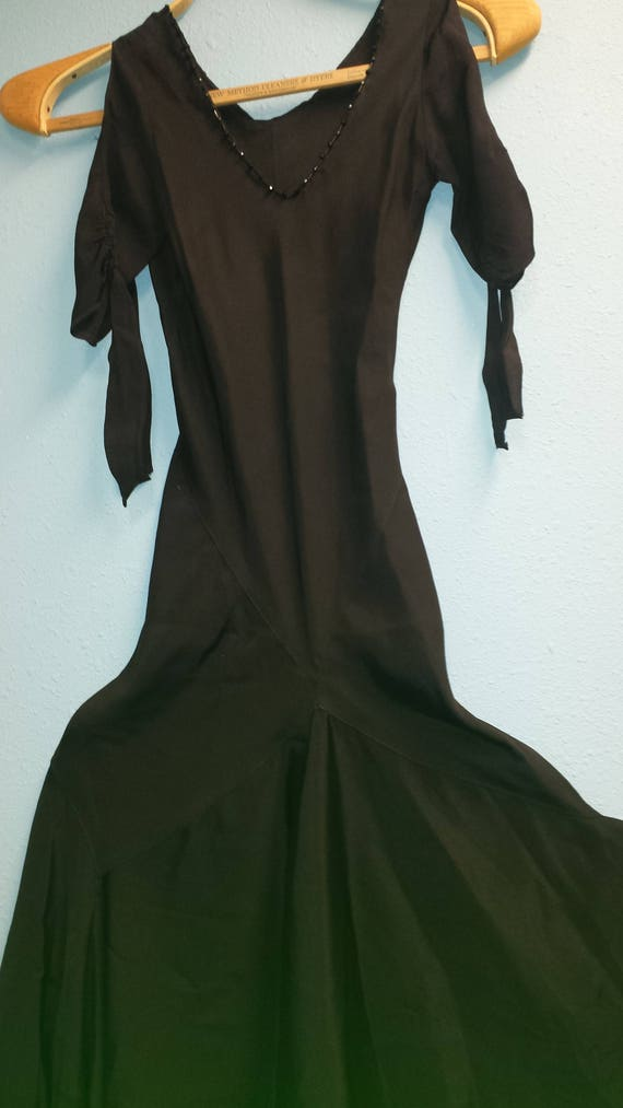 Bias cut black crepe 1930's evening dress
