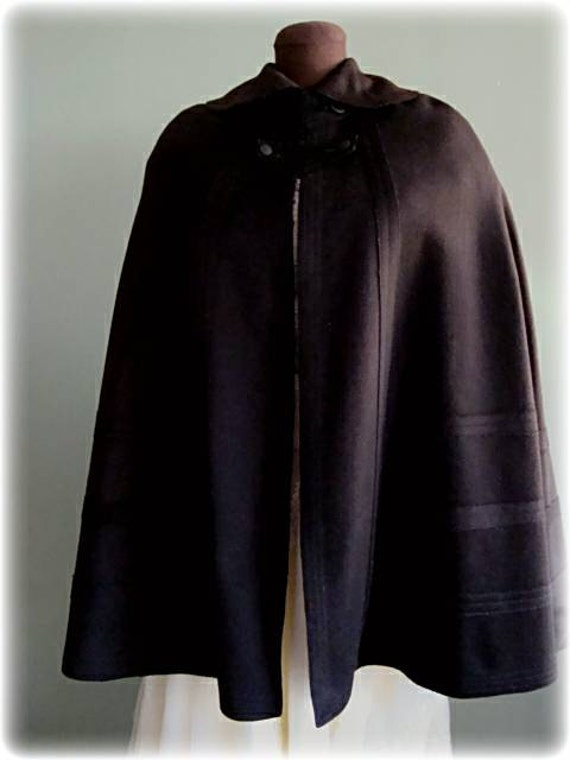 Antique Victorian Era Black Circular Wool Felt Cap