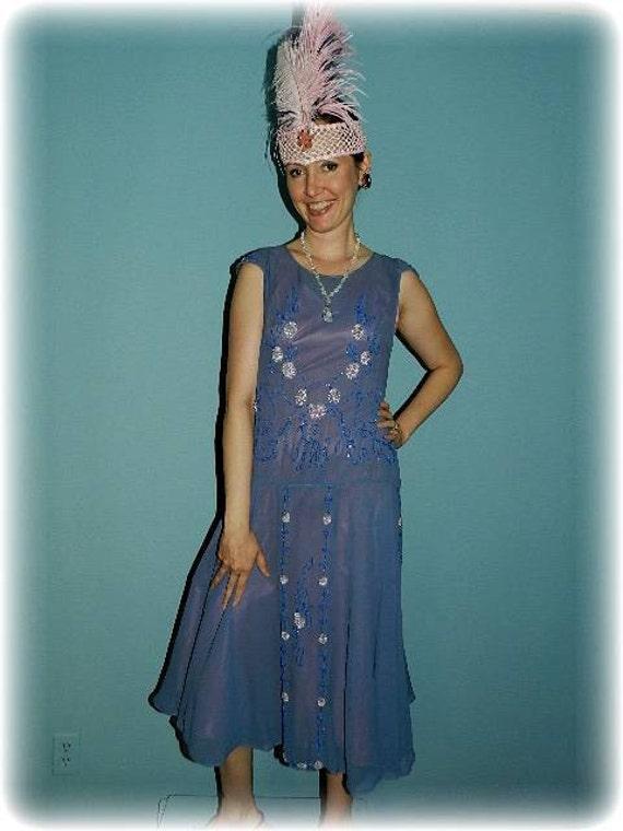 1920 Periwinkle blue silk Gatsby Flapper beaded dr