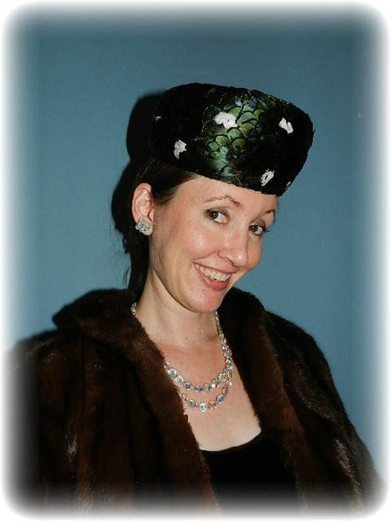 Vintage Feathered Pill Box Designer Hat