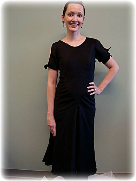 1930s Black Crepe Vintage Day Dress