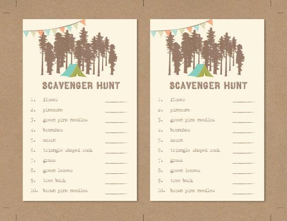 Printable Kids Geburtstag Spiel Blatt Scavenger Hunt Spiel Blatt Boho Diy Und Rustikalen Camping Woodland Themed Babyparty Oder Kinder