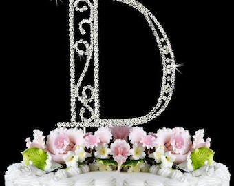 beautiful crystal rhinestone silver letter d monogram wedding anniversary birthday cake topper free shipping